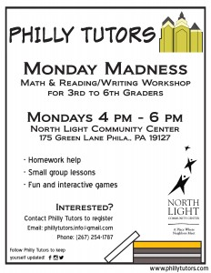 Philly Tutors Northlight Monday Madness Flyer